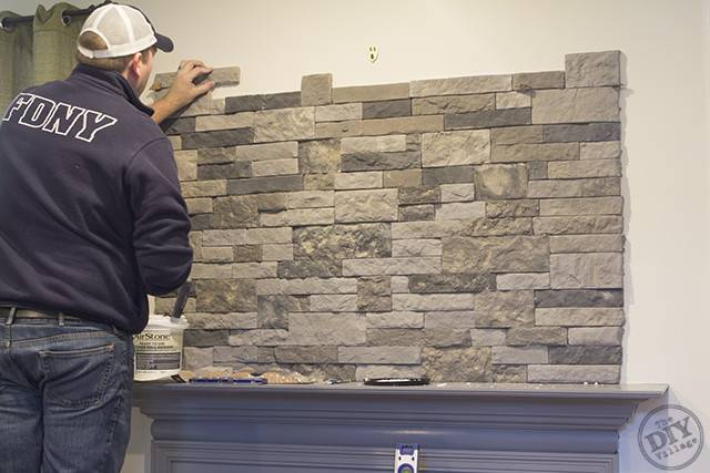 Diy Stone Fireplace Mantel Makeover Village