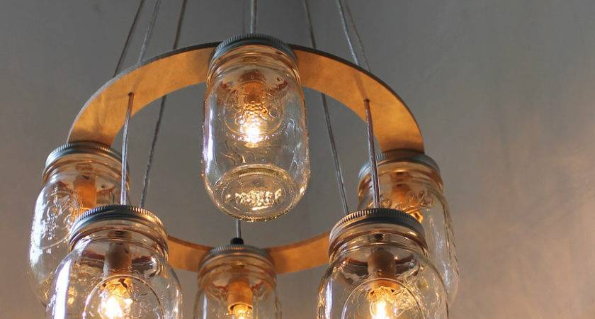 Double Decker Mason Jar Chandelier Upcycled Hanging