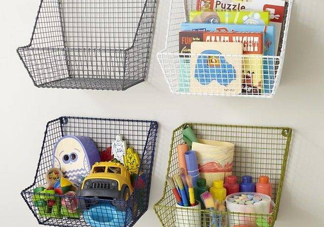 Down Wire Wall Bin Contemporary Toy Organizers