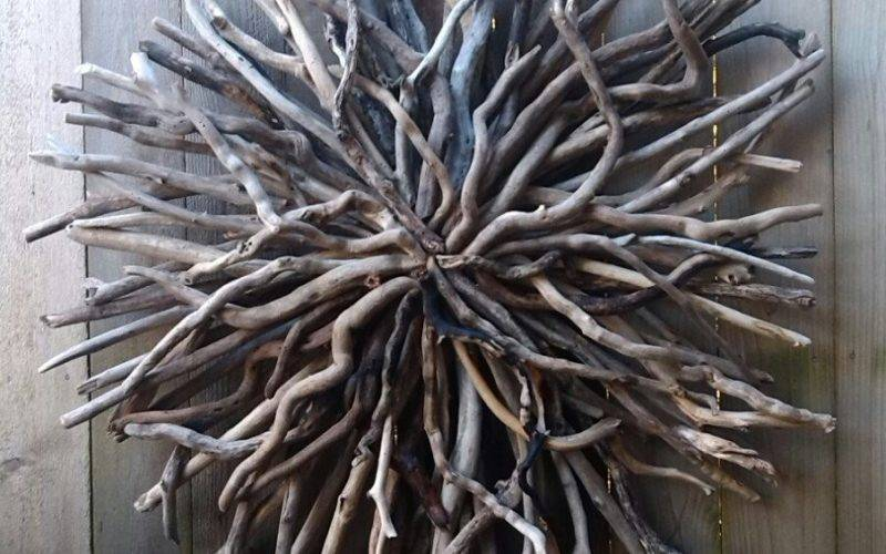 Driftwood Sun Wall Sculpture Hand Made Art Outdoor
