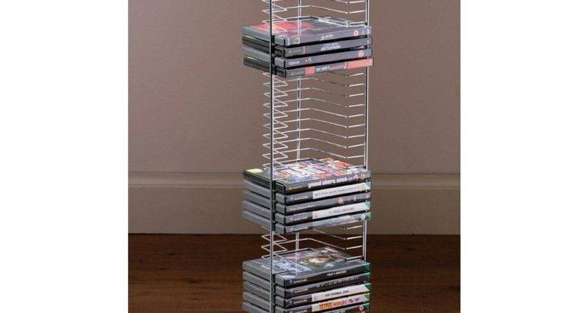 Dvd Holder Storage Tower Rack Chrome Wood Base