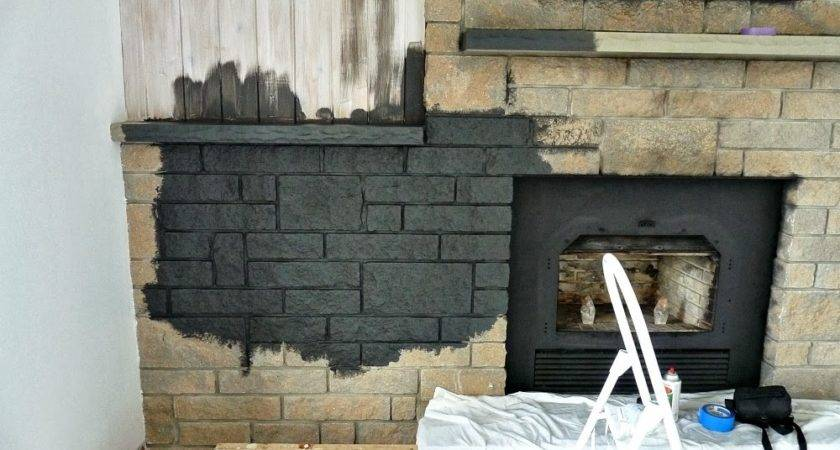 Easily Paint Stone Fireplace Charcoal Grey