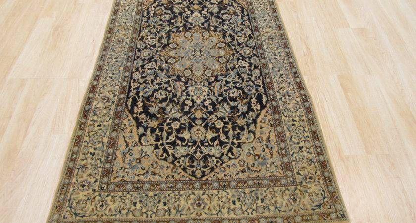 Eastern Rugs Naiin Hand Knotted Ivory Navy Blue Area Rug