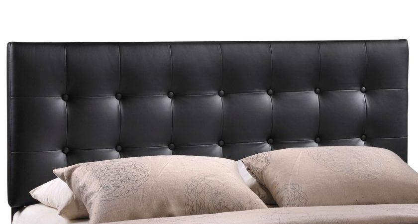 Emily Modern Button Tufted Queen Faux Leather Headboard Black