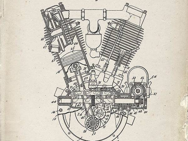 Engine Patent Art Old Paper Drawing Industrial