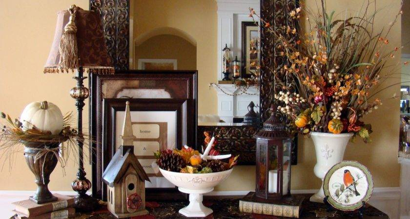 Entryway Table Decorated Fall Holiday Decorating