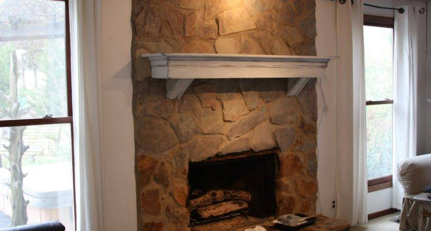 Erin Art Gardens Painted Stone Fireplace Before