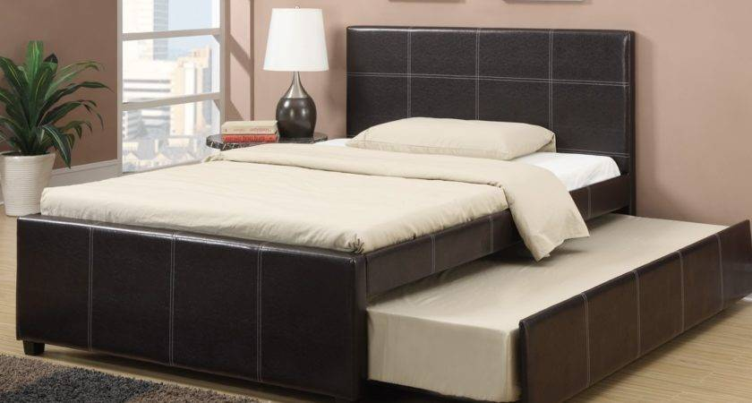 Espresso Faux Leather Bed Twin Trundle