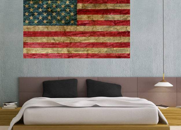 Faded Rustic American Flag Landmark Vinyl Wall Decal