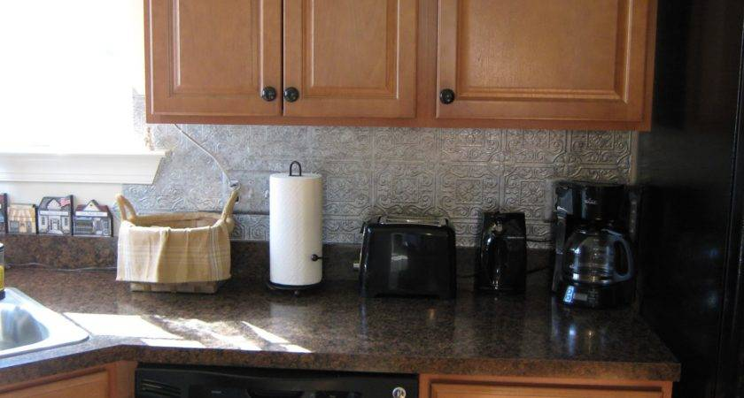 Fake Frugal Punched Tin Backsplash