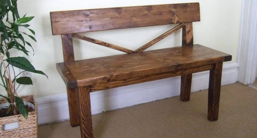 Farmhouse Style Bench Rustic Back Solid Wood