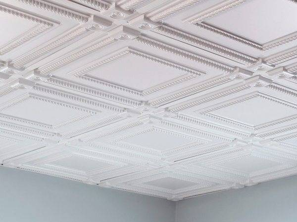 Fasade Coffer Gloss White Foot Square Lay Ceiling