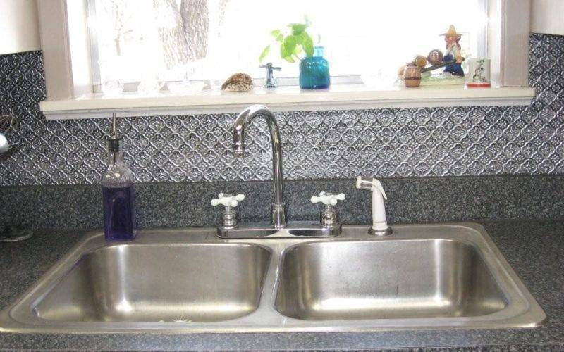 Faux Tin Backsplash