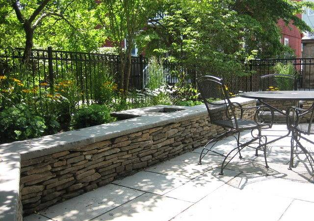 Fieldstone Seat Wall Contemporary Patio Boston