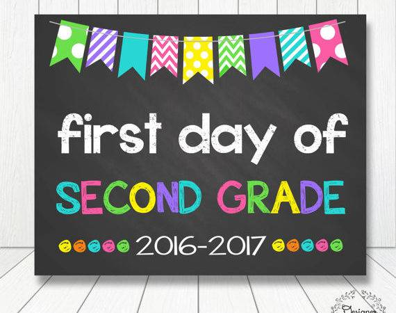 First Day Second Grade Sign Chalkboard Poster Prop