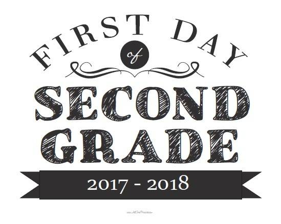 First Day Second Grade Sign Printable