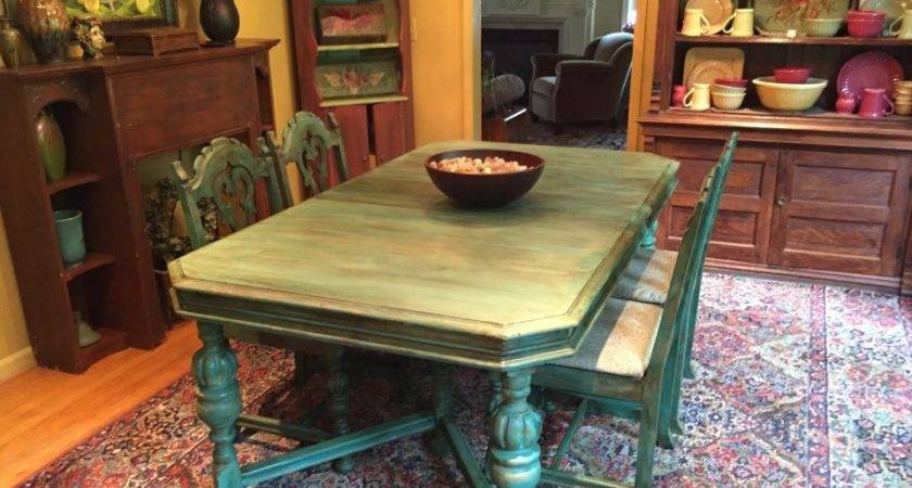 Florence Chalk Paint Dining Room Table Indigo Tones