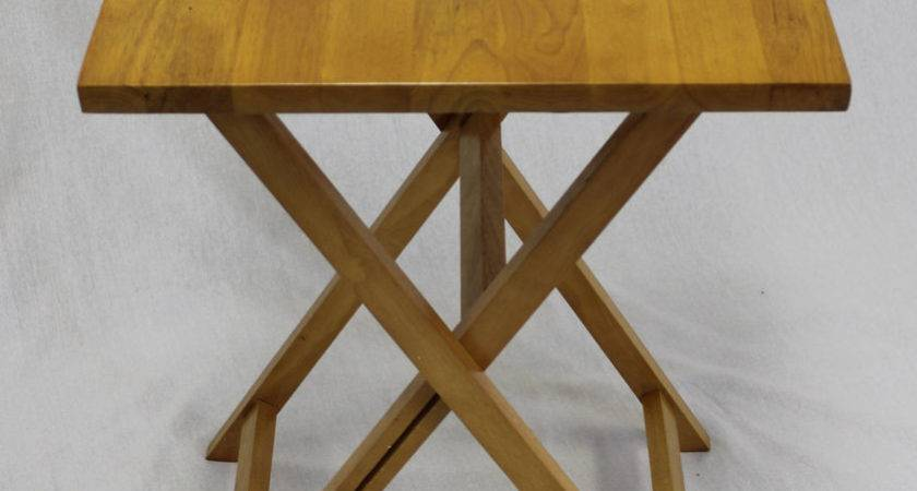 Folding Tray Square Top Table Hard Wood Pecan