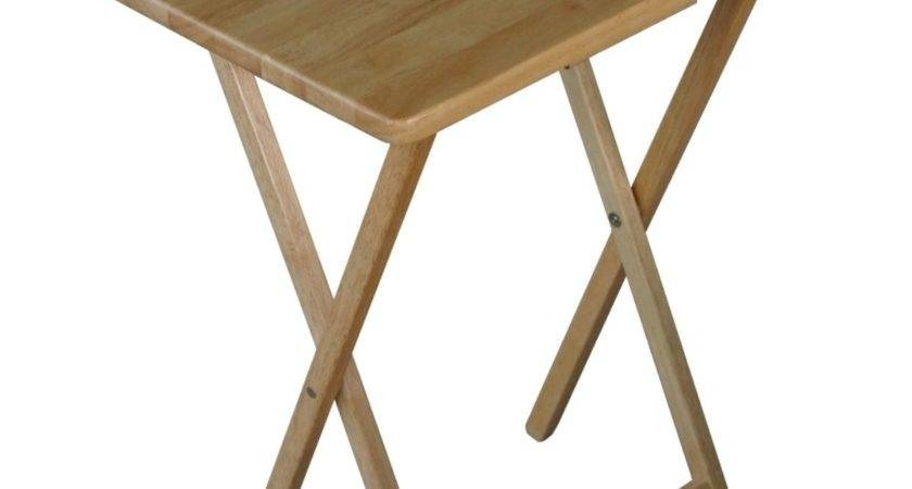 Folding Wooden Tray Table Natural