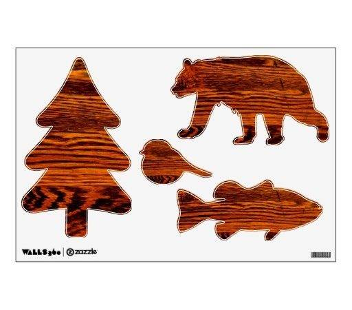 Forest Animals Wood Look Wall Decals Zazzle