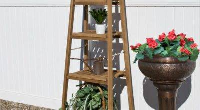 Four Tiered Ladder Style Teak Plant Stand Stands