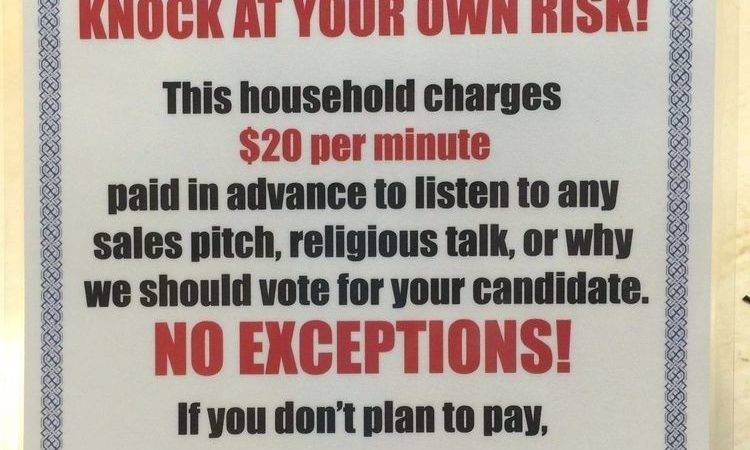 Funny Solicitors Soliciting Sign Water Proof