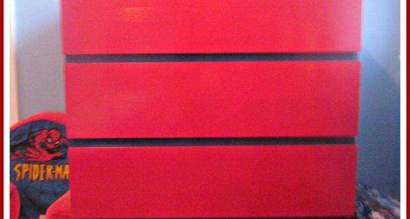 Furniture Lovely Red Drawers Ikea Malm Dresser Kids