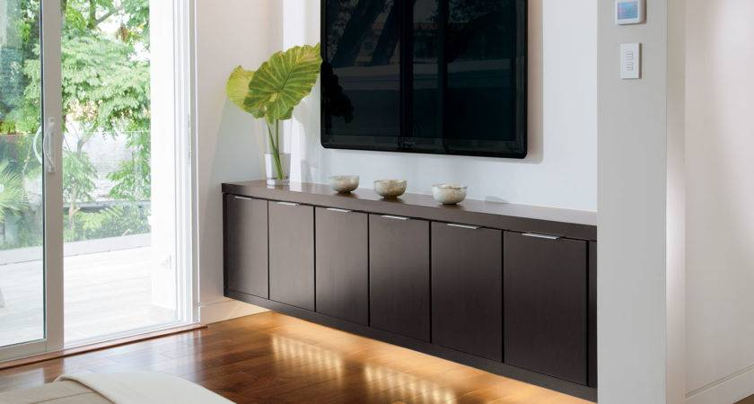 Furniture Rectangle Four Brown Wooden Floating Shelf