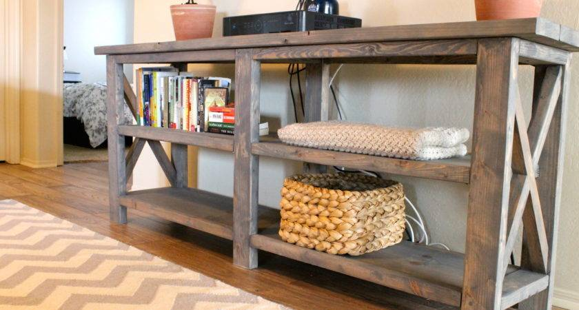 Furniture Vintage Look Rustic Wood Console Table