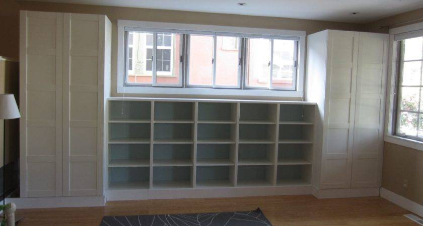 Furniture White Stained Wood Built Book Cabinet