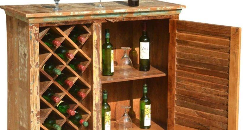 Garrard Rustic Reclaimed Wood Single Door Bar Cabinet