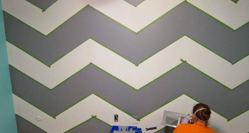Geometric Triangle Wall Paint Design Idea Tape Diy