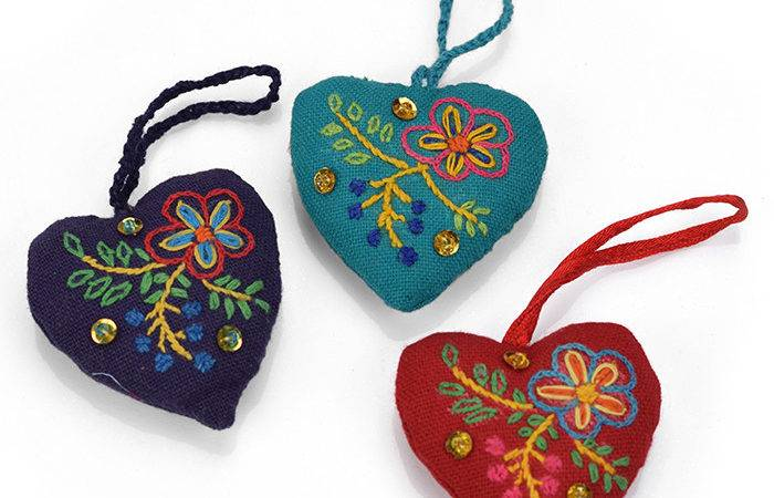 Gifts Love Set Embroidered Heart Ornaments
