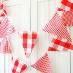 Gingham Banner Bunting Fabric Pennant Garland Flags Baby