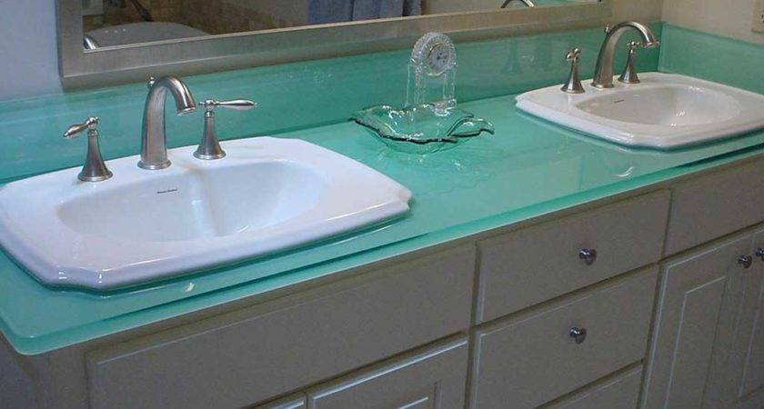Glass Bathroom Sink Countertop Double White