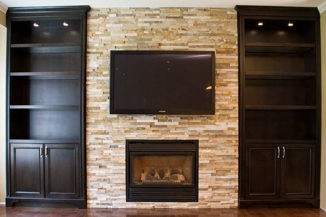 Glass Shelves Built Units Around Fireplace