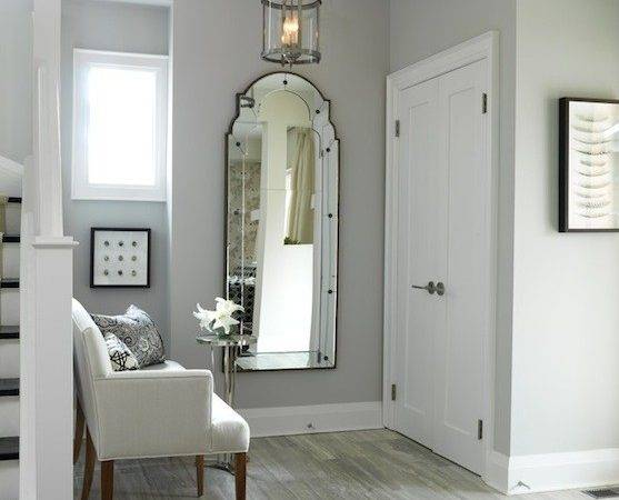 Gray Foyer Mirror Design Ideas