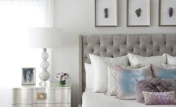 Gray Linen Nailhead Nightstand Purple Quartz Lamp
