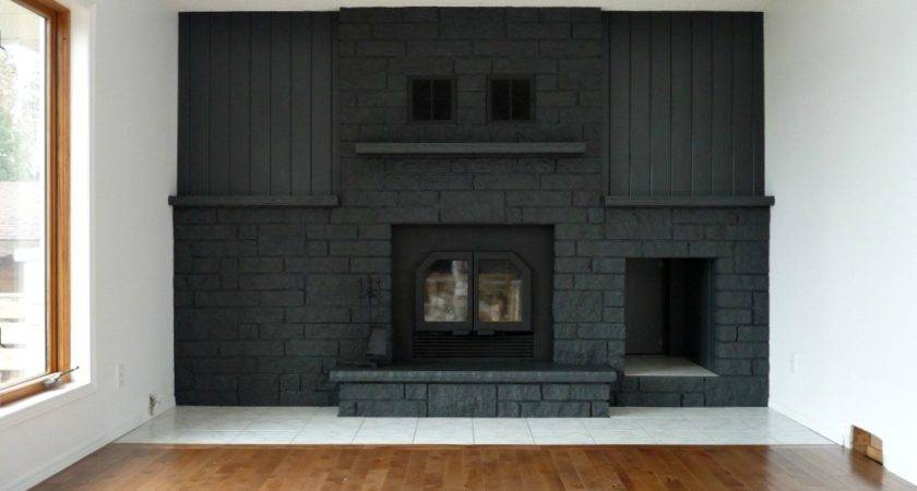 Gray Painted Brick Fireplace Design Ideas