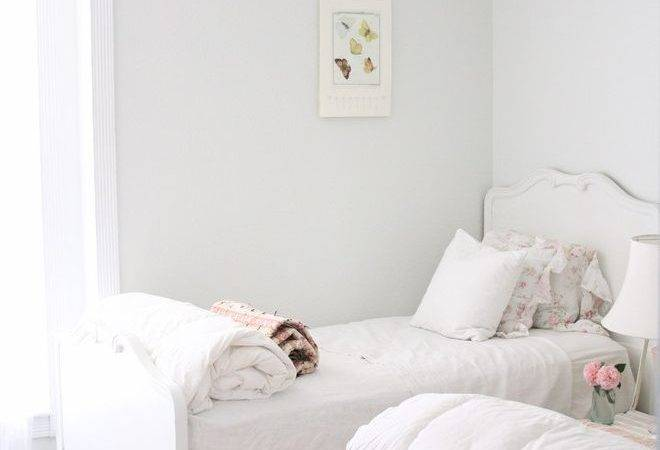 Gray Trim White Walls Bedroom Shabby Chic Style Wood