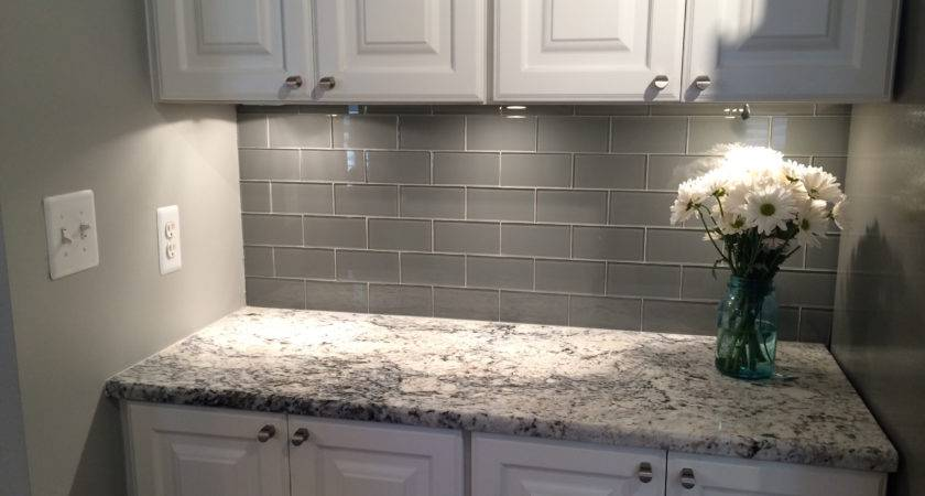 Grey Glass Subway Tile Backsplash White Cabinet