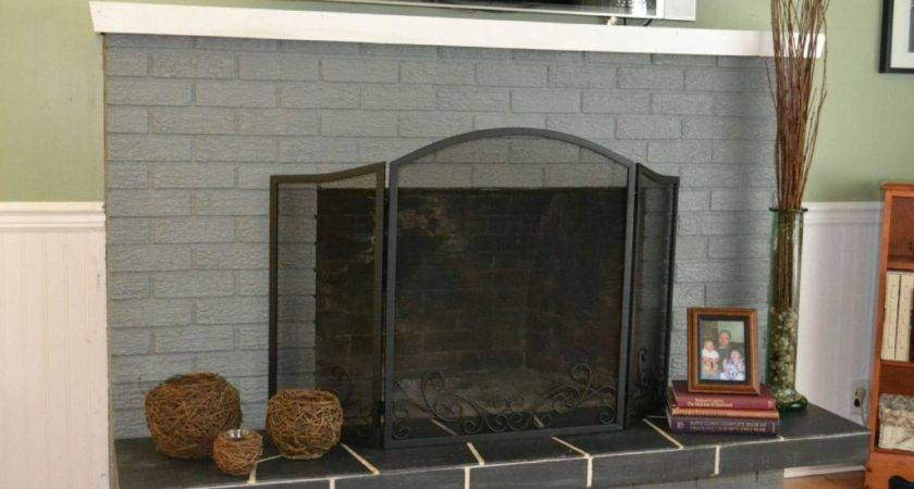 Grey Painted Brick Fireplace Designs