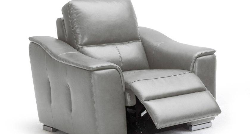 Grey Reclining Leather Lounge Chair