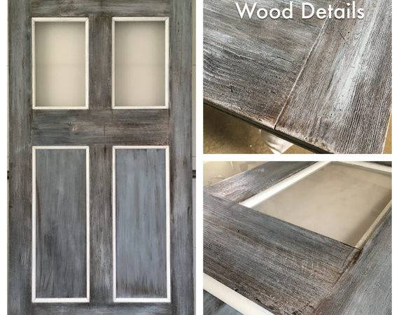 Grey Rustic Faux Reclaimed Lumber Sliding Barn Doors Panel