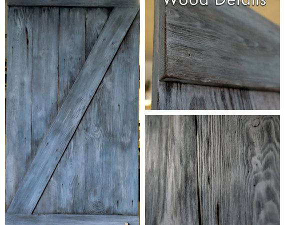Grey Rustic Faux Reclaimed Lumber Sliding Barn Doors