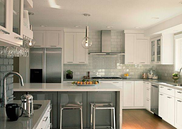 Grey White Kitchen Furniture Backsplash