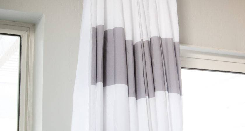 Grey White Striped Curtains