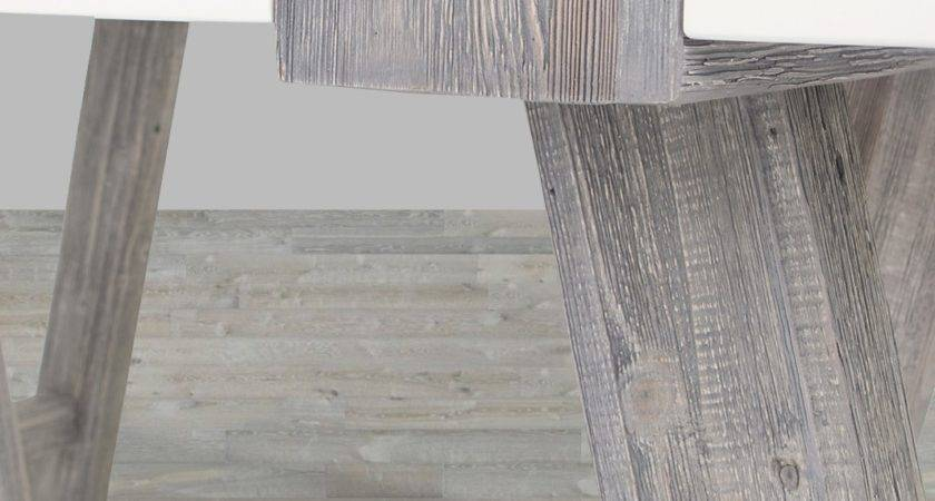 Grey White Wash Lacque Pine Wood Dining Table