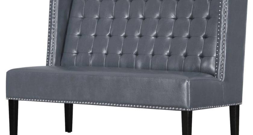 Halifax Gray Leather Banquette Bench Tov