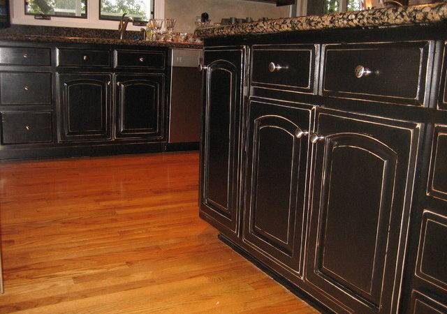 Handpained Distressed Black Kitchen Cabinetry